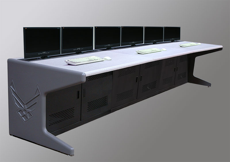 Continuous Line of Consoles with Decorative End Panels