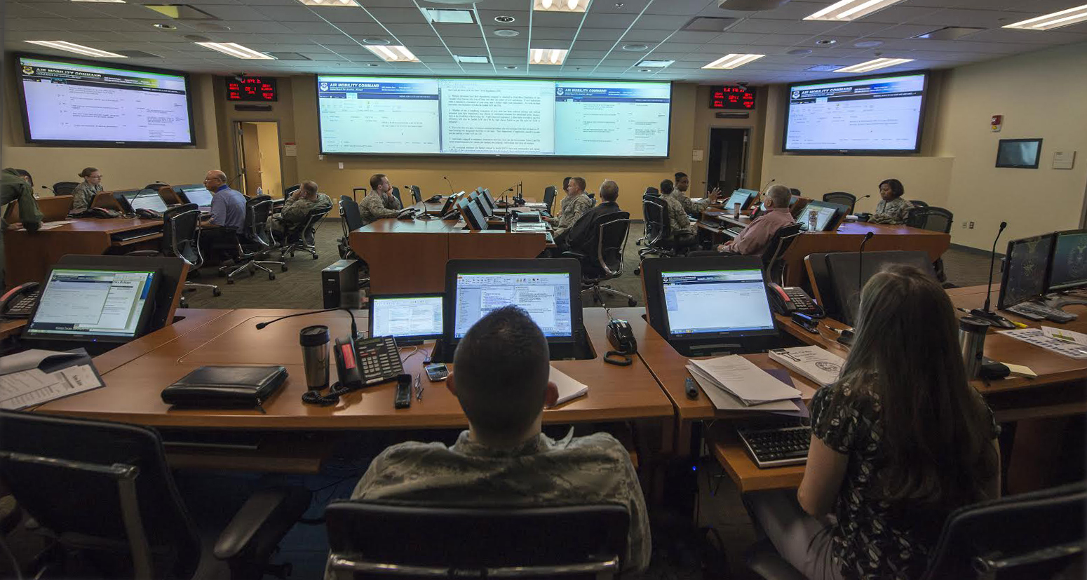 Flip-screen furniture for Emergency Operations Centers are both functional and cost effective